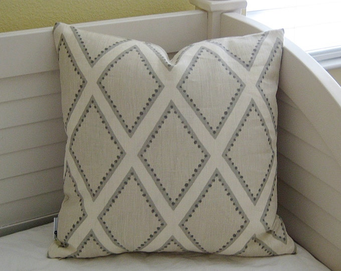 Kravet Brookhaven in Oyster Gray Linen Designer Pillow Cover - Square, Lumbar, Euro and Body Pillow Cover