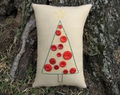 Primitive Christmas Tree Pillow, Red Button Tree, Embroidery Pillow Tuck, Original Design OOAK, Green Holiday Decor, vintage buttons, BICOFG