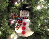 Snowman Ornament Tuck, Christmas Tree Decoration, Happy Smiling Snowman Decor, Snowman Collector, Unique, Vintage Buttons, Polka Dots, CIJ