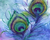 Peacock Feathers, A4 Fine Art Watercolor Painting Print