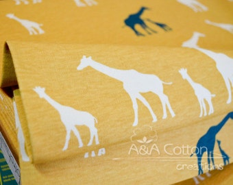 ORGANIC Fabric Interlock KNIT Certified Cotton, Birch fabric, Giraffe Fam Sun Knit textile from Serengeti  Interlock knits