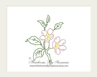 Redwork Flower Design - Antique Apple Blossom, Machine Embroidery, Floral Colorwork, Machine Quilt Embroidery Design - 3 Sizes - Flower No.6