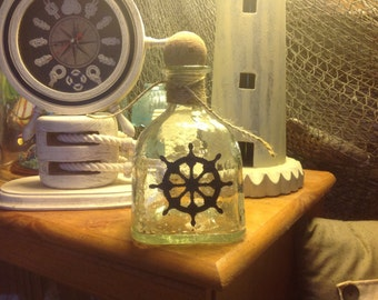 Etched Patron Bottle, Ships Wheel