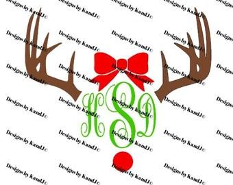 Deer Antlers with bow  SVG and DXF Christmas svg File Rudolf svg  Digital cut file Countdown SVG- Instant Download