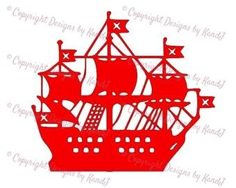 Pirate Ship SVG Pirate svg Pirate boat svg  digital cut file  svg Instant download