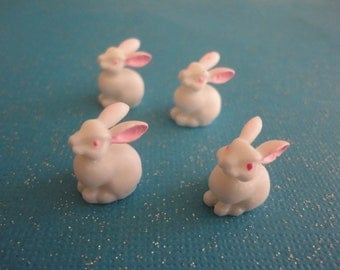Kawaii bunny cabochon decoden deco diy charms  4 pcs---USA seller