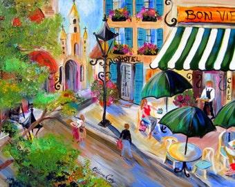 Bon Vie Paris Cafe Scenic landscape oil painting 24 x 36 Original Art by Elaine Cory