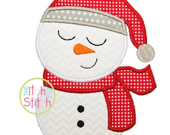 "Sleepy Snowman Boy Applique Design, Shown with our ""Payphone"" Font NOT Included, In Hoop Size(s) 4x4, 5x7, & 6x10 INSTANT DOWNLOAD"
