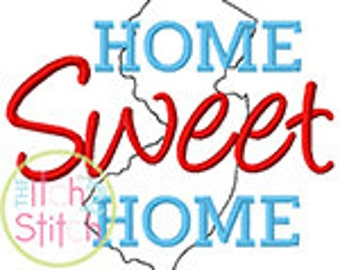 Home Sweet Home New Jersey Embroidery Design For Machine Embroidery INSTANT DOWNLOAD now available