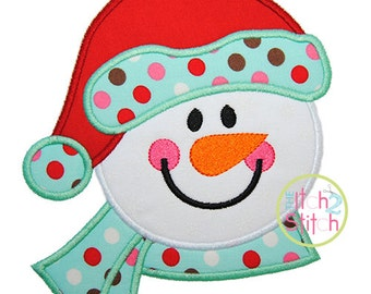 "Snowman Head 2 Applique Design, Shown with our ""Jack and Jill"" Font NOT Included, Size(s) 4x4, 5x7, & 6x10 INSTANT DOWNLOAD now available"
