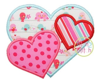 """Triple Hearts Applique Design For Machine Embroidery, shown with our """"Cutsie Joe"""" font NOT Included INSTANT DOWNLOAD now available"""