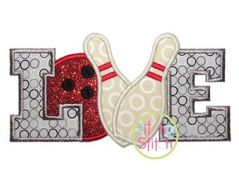 Bowling Love Applique Design For Machine Embroidery INSTANT DOWNLOAD now available
