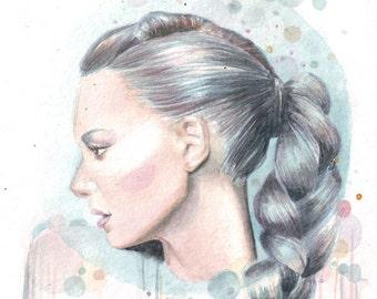 HM014 Original watercolor painting art Woman Portrait by Helga McLeod