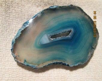 Druzy Center Teal Dyed Brazil Agate Slab Polished Free Form Wrap It