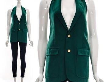 RECLAIMED Deep V Emerald Vest Vintage Blazer Deep Pockets Halter Medium Large