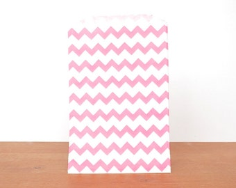 goody bags treat bags: 10 pink gift bags, pink striped chevron, favor bags