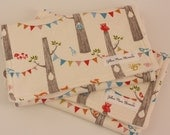 Jersey Burp Cloths, Set of 2,  Woodland Party by Monaluna with Creamy Off-White Minky Dot