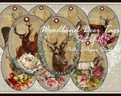 Woodland Deer Tags Set of 9 for Cards and Scrapbooking Digital Images printable download file