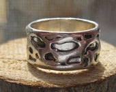 Sterling Silver Ladies Womens Spotted Leopard Print Style Sterling Silver Ring Boutique Ring Sterling Band Size 6 1/2