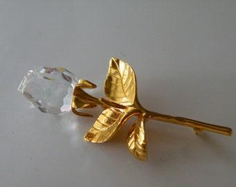 Swarovski rose flower brooch, pin. Swan logo.