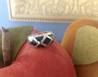 Sterling silver dome ring with onyx