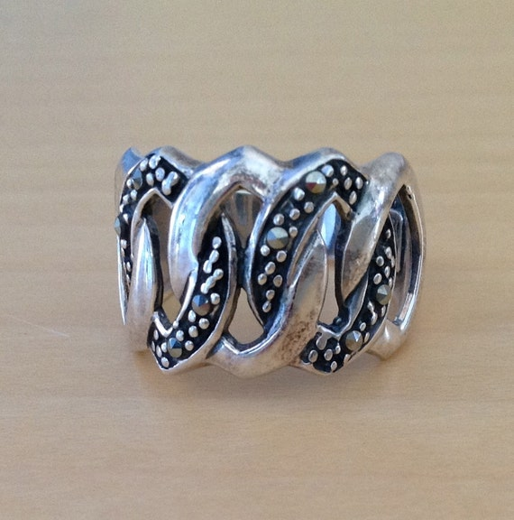 sterling silver ring with interlocking ovals