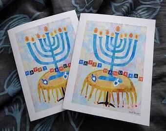 Hanukkah cards, decorations, art print, DIY, Printable, Instant download