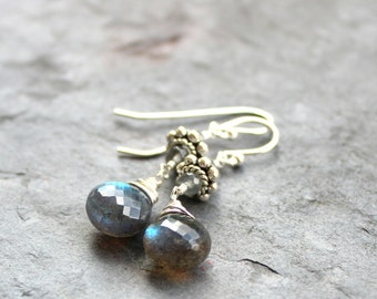 Labradorite Earrings Dangle Earrings, Sterling Silver Grey Earrings, Briolette Gemstone Earrings