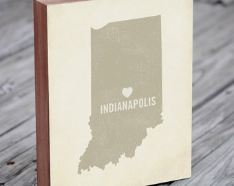 Indianapolis Skyline - Indianapolis Art - Indianapolis Map - Wood Block Art Print