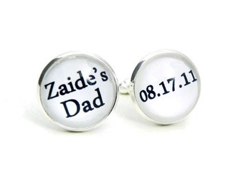 New Dad Cufflinks Baby Date Personalized Cuff Links Custom Cufflinks for Dad First time Dad Gift for Him