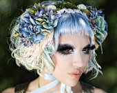 Mori girl headband bonnet - light blue flowers lace fringe and moss - forest woodland headdress