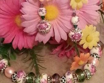 SALE European Bracelet, Earrings, Floral Pink and Purple, Rhinestone Spacers, Matching Gift Set