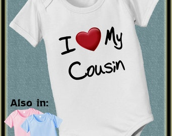 I Love My Cousin Cousins bodysuit with big red heart family and relative appreciation - cousin baby bodysuit - i love my cousin shirt