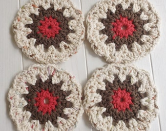 Crocheted Autumn Coasters Set of Four