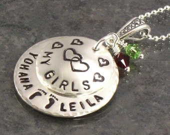 Personalized Mothers Necklace with Baby Feet and Kids Names - Hand Stamped with My Girls -  Footprints on Stacked Discs  - Gift for Mom