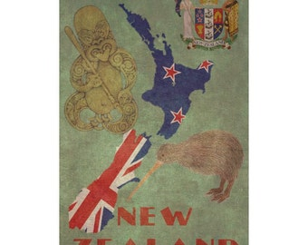 NEW ZEALAND 1F- Handmade Leather Passport Cover / Travel Wallet - Travel Art