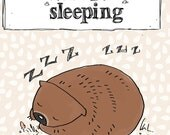 Childrens art print Wombat Sleeping