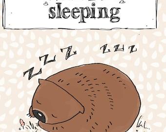 Childrens art print Wombat Sleeping