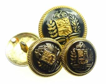 Enamel buttons, gold tone metal uniform black enamel 4pcs