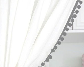 Classic White with Black Pom Pom Curtain or other colors