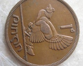 1948  Ireland, 1 Pingin Bronze Coin, Clairseach and Hen with Chicks