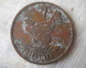 1950 Ireland, 1 Pingin Bronze Coin, Clairseach and Hen with Chicks