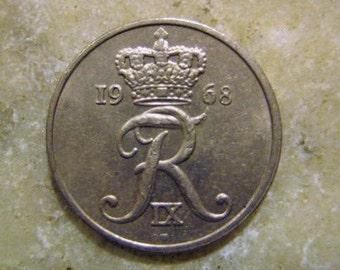 Denmark Danmark 10 Ore Coin 1968