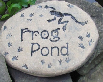 Frog Pond sign. Frog Garden art, frog garden decor. Outdoor water feature. Toads, pollywog, tadpoles, fish pond sign