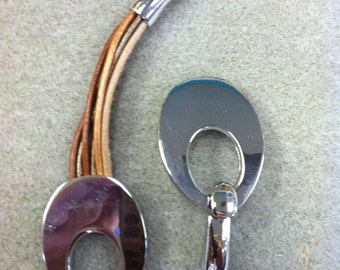 Magnetic Silver Leather Clasp