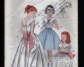 Vintage 1950s Butterick  Pattern 7333 Girls Full Skirted Dress Floor Length GOWN