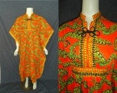 Bold Ethnic ANGEL Sleeve Vintage 1970's MAXI Hippie Dress M L