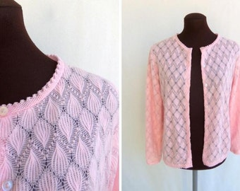 Vintage 50s 60s Cardigan Sweater in Pastel Pink Knit Size Small Medium S / M