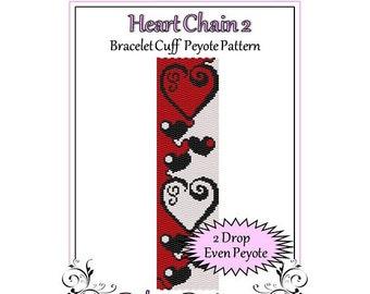 Bead Pattern Peyote(Bracelet Cuff)-Heart Chain 2