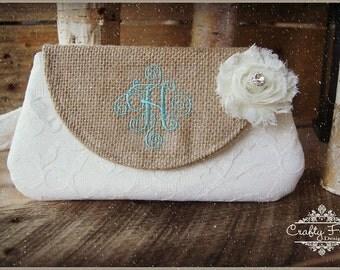 Clutch -Burlap Clutch - Satin Clutch -  Bridesmaid Clutches - Pouch - Formal - Wedding - Boutique - chevron clutch
